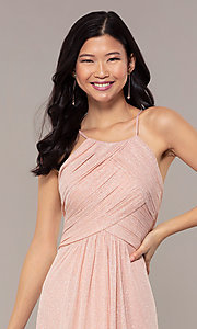 Image of ruched-bodice long formal dress in glitter chiffon. Style: HOW-CWC-22879 Detail Image 5