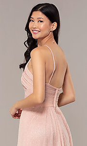 Image of ruched-bodice long formal dress in glitter chiffon. Style: HOW-CWC-22879 Detail Image 6