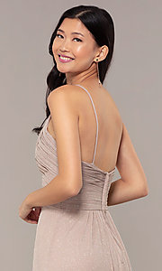 Image of ruched-bodice long formal dress in glitter chiffon. Style: HOW-CWC-22879 Detail Image 2