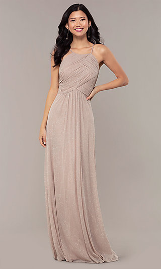 Ruched-Bodice Long Formal Dress in Glitter Chiffon