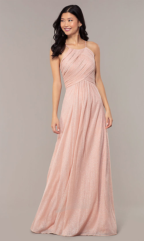 Image of ruched-bodice long formal dress in glitter chiffon. Style: HOW-CWC-22879 Front Image