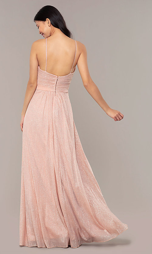 Image of ruched-bodice long formal dress in glitter chiffon. Style: HOW-CWC-22879 Detail Image 4