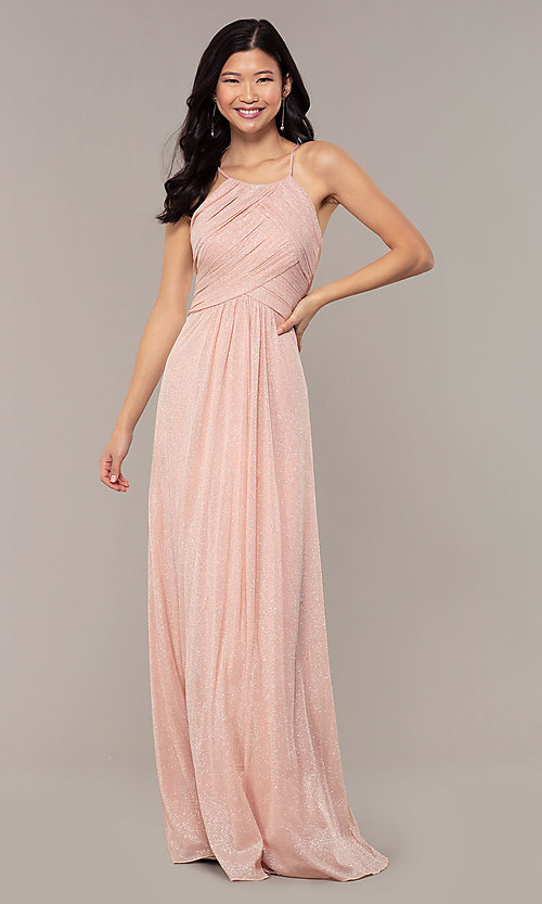 Image of ruched-bodice long formal dress in glitter chiffon. Style: HOW-CWC-22879 Detail Image 3