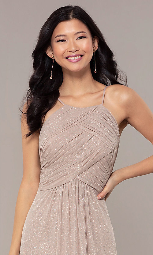 Image of ruched-bodice long formal dress in glitter chiffon. Style: HOW-CWC-22879 Detail Image 1