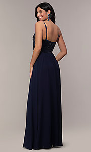 Image of long chiffon prom dress with sequin v-neck bodice. Style: LP-PL-26117 Detail Image 5