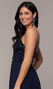 Image of long chiffon prom dress with sequin v-neck bodice. Style: LP-PL-26117 Detail Image 7