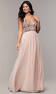 Image of long chiffon prom dress with sequin v-neck bodice. Style: LP-PL-26117 Front Image