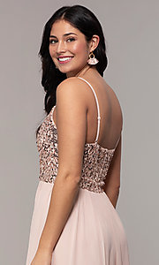 Image of long chiffon prom dress with sequin v-neck bodice. Style: LP-PL-26117 Detail Image 2
