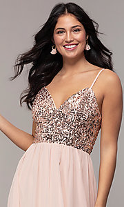 Image of long chiffon prom dress with sequin v-neck bodice. Style: LP-PL-26117 Detail Image 1
