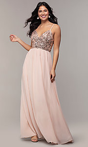 Image of long chiffon prom dress with sequin v-neck bodice. Style: LP-PL-26117 Detail Image 3