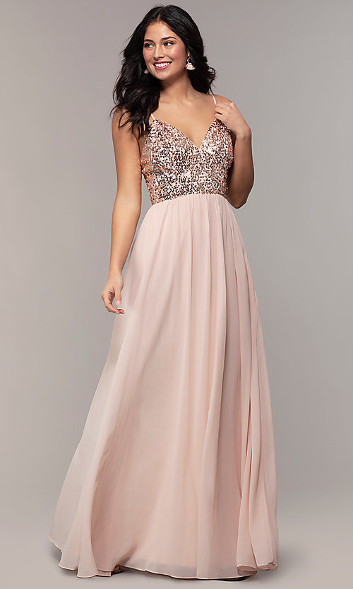 9bf0bc29e70e4 Image of long chiffon prom dress with sequin v-neck bodice. Style: LP