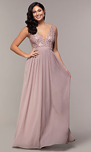 Image of sequin-bodice mauve pink long formal prom dress. Style: LP-PL-24017-1 Front Image