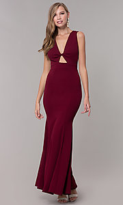 Image of open-back long formal dress with front keyhole twist. Style: CL-46933 Back Image