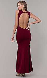 Image of open-back long formal dress with front keyhole twist. Style: CL-46933 Front Image