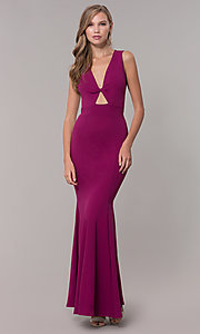 Image of open-back long formal dress with front keyhole twist. Style: CL-46933 Detail Image 5