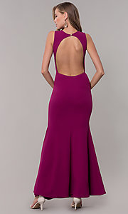 Image of open-back long formal dress with front keyhole twist. Style: CL-46933 Detail Image 6