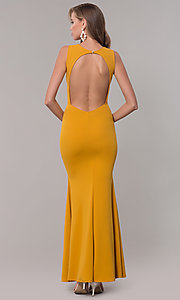 Image of open-back long formal dress with front keyhole twist. Style: CL-46933 Detail Image 8