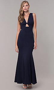 Image of open-back long formal dress with front keyhole twist. Style: CL-46933 Detail Image 3