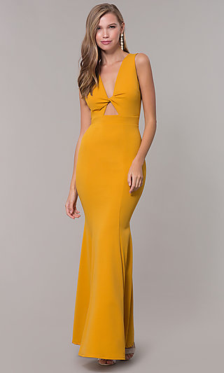 Open-Back Long Formal Dress with Front Keyhole Twist