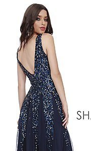 Image of long v-neck a-line prom dress by Shail K. Style: SK-12207 Detail Image 3