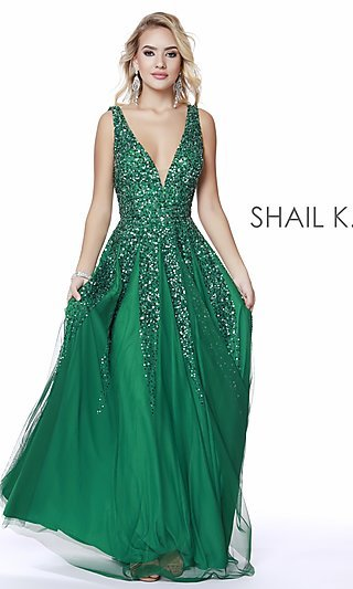 503fc3a162 Long V-Neck A-Line Prom Dress by Shail K