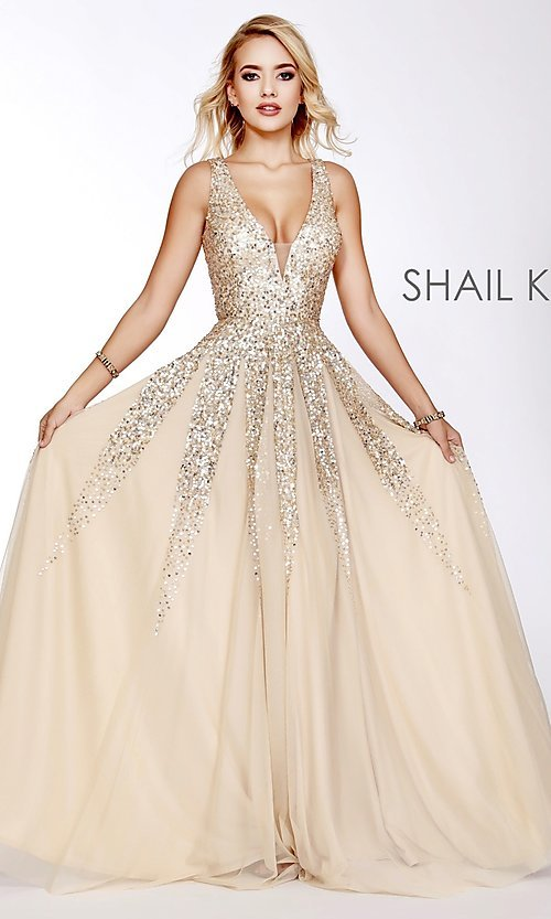 a81208aaaa4 Image of long v-neck a-line prom dress by Shail K. Style