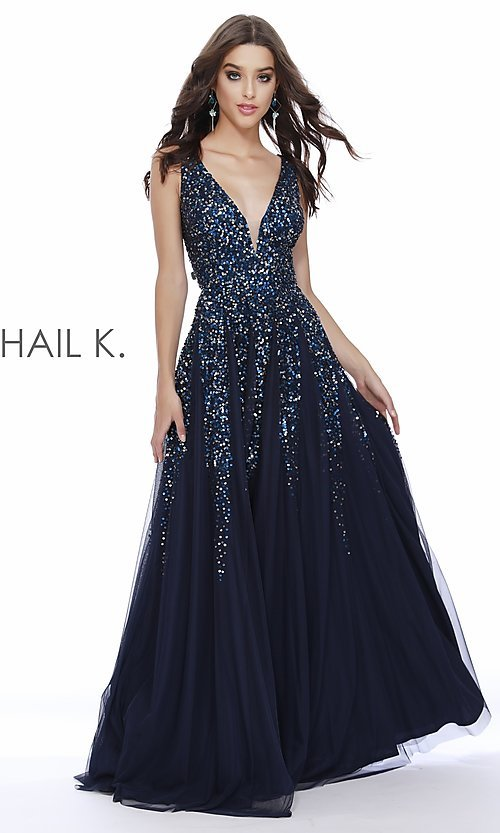 Image of long v-neck a-line prom dress by Shail K. Style: SK-12207 Detail Image 1