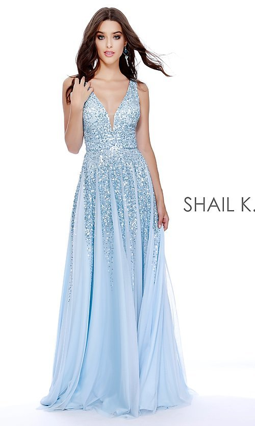 Image of long v-neck a-line prom dress by Shail K. Style: SK-12207 Front Image