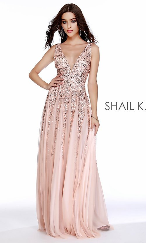 Image of long v-neck a-line prom dress by Shail K. Style: SK-12207 Detail Image 4