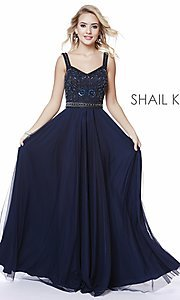 Image of beaded-bodice long a-line prom dress with v-back. Style: SK-12213 Detail Image 5