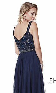Image of beaded-bodice long a-line prom dress with v-back. Style: SK-12213 Detail Image 8