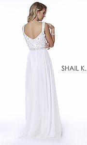 Image of beaded-bodice long a-line prom dress with v-back. Style: SK-12213 Back Image