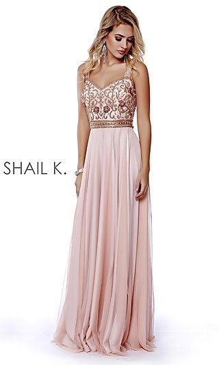 Beaded-Bodice Long A-Line Prom Dress with V-Back