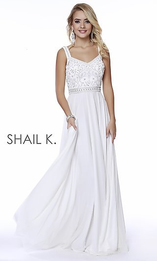 Long Shail K A-Line Prom Dress with a V-Back