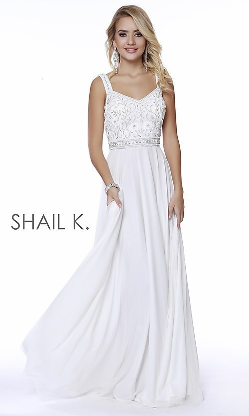Image of beaded-bodice long a-line prom dress with v-back. Style: SK-12213 Detail Image 2