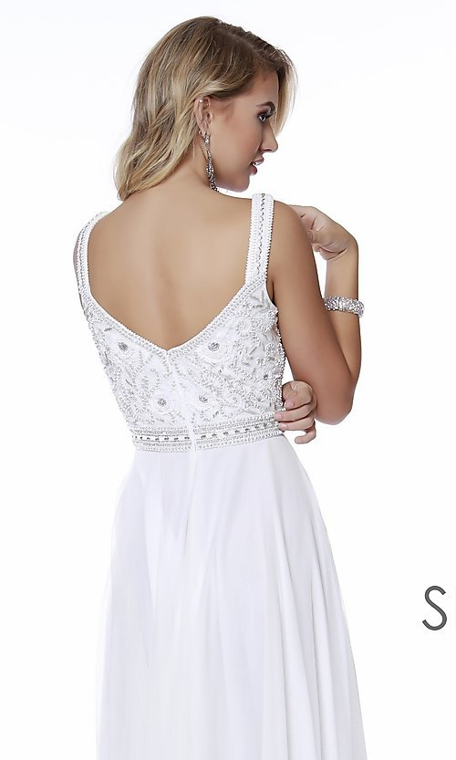 Image of beaded-bodice long a-line prom dress with v-back. Style: SK-12213 Detail Image 4