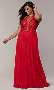 Image of long high-neck plus-size Faviana formal dress. Style: FA-9472 Detail Image 4