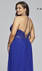 Image of long high-neck plus-size Faviana formal dress. Style: FA-9472 Detail Image 2