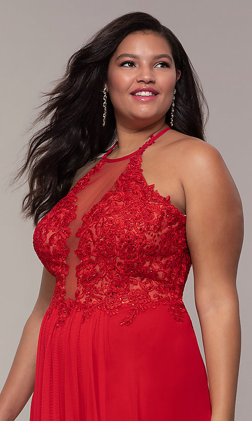 Image of long high-neck plus-size Faviana formal dress. Style: FA-9472 Detail Image 6