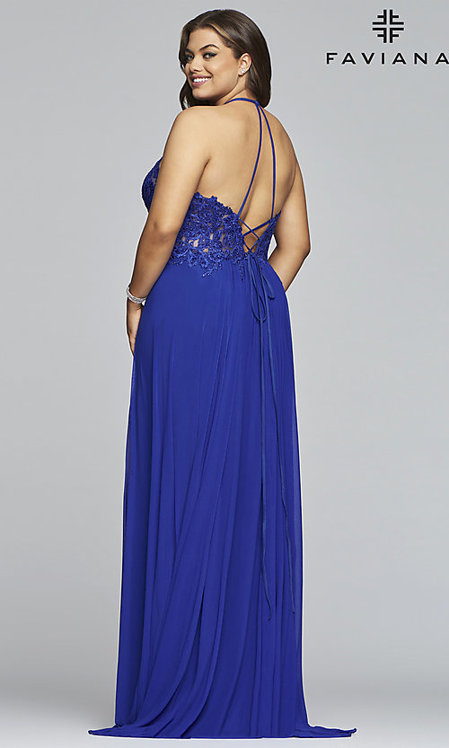 Image of long high-neck plus-size Faviana formal dress. Style: FA-9472 Back Image