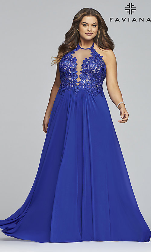 Image of long high-neck plus-size Faviana formal dress. Style: FA-9472 Detail Image 3