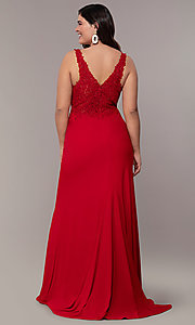 Image of long v-neck plus formal dress with sheer bodice. Style: FA-9463 Detail Image 5