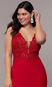 Image of long v-neck plus formal dress with sheer bodice. Style: FA-9463 Detail Image 6