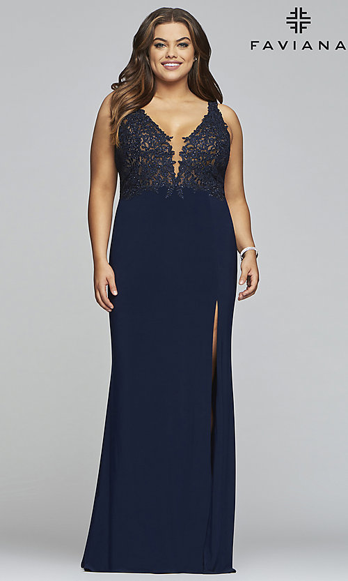 Image of long v-neck plus formal dress with sheer bodice. Style: FA-9463 Front Image