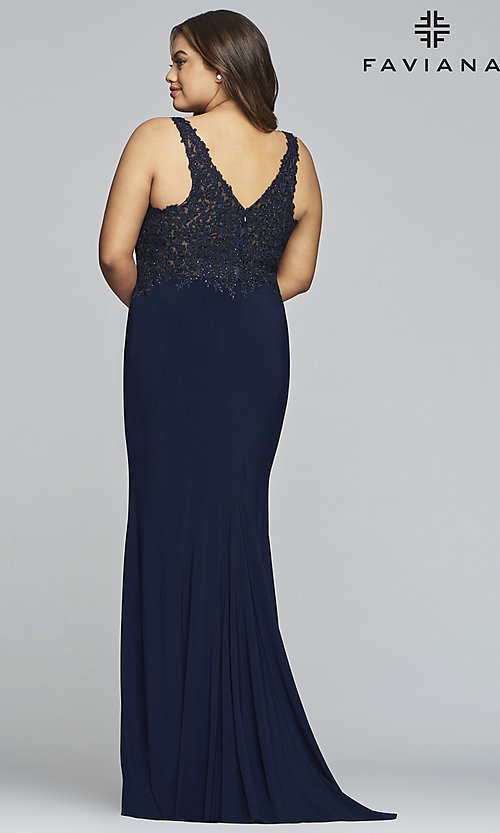 Image of long v-neck plus formal dress with sheer bodice. Style: FA-9463 Back Image