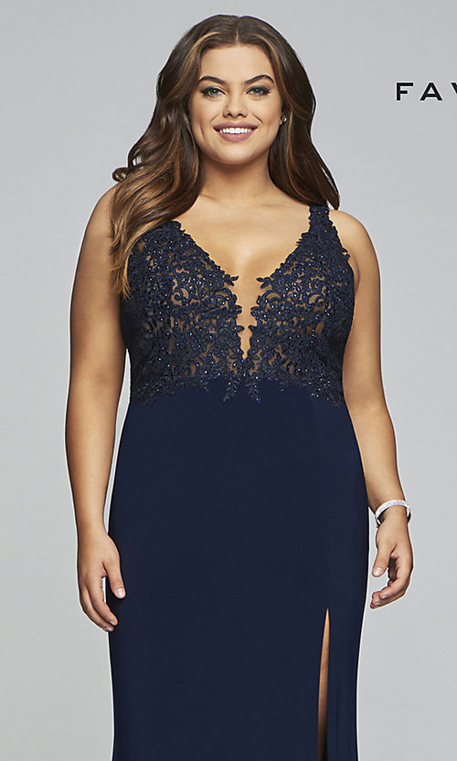Image of long v-neck plus formal dress with sheer bodice. Style: FA-9463 Detail Image 1