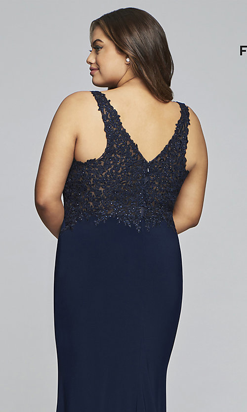 Image of long v-neck plus formal dress with sheer bodice. Style: FA-9463 Detail Image 2