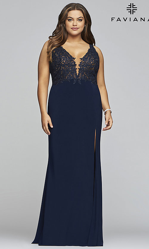 Image of long v-neck plus formal dress with sheer bodice. Style: FA-9463 Detail Image 3