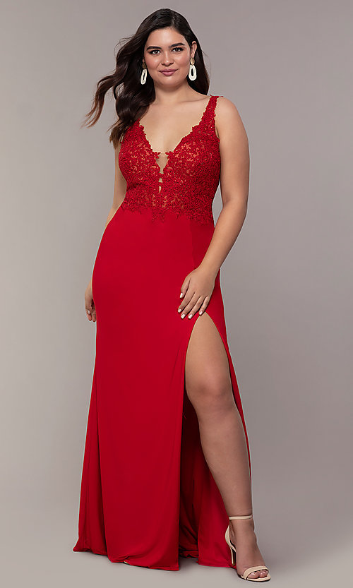 Image of long v-neck plus formal dress with sheer bodice. Style: FA-9463 Detail Image 4
