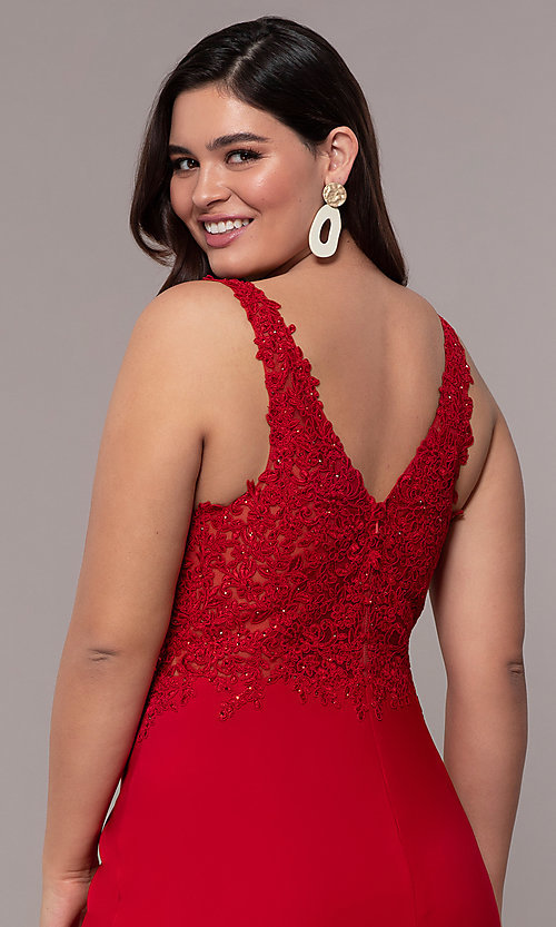Image of long v-neck plus formal dress with sheer bodice. Style: FA-9463 Detail Image 7